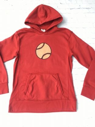 Mini Boden red sweatshirt with baseball on the front age 13-14